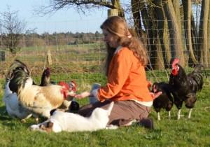 Alessa Knoop-Lübke füttert ihre Hennen und die Hähne Schumann (links) und Brahms (rechts) aus der Hand, während Hündin Ronja sich davor wälzt.